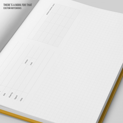 The notebook architects classic grid is containing lot of space for your drawings, structered info boxes for data, details and stuff like surface/materials ideas.