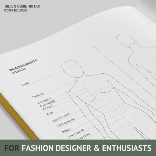 This fashiondesign notebook features female/male/kid mannequins space for notes, color and textile samples measurement charts and symbol/pattern markings.