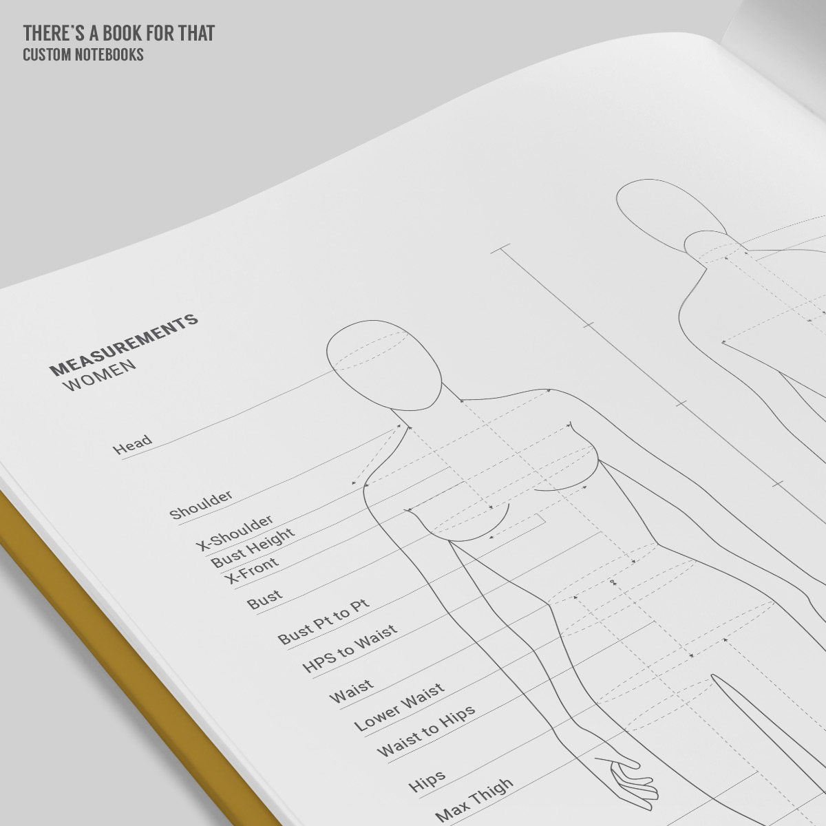 This fashion design notebook features female/male/kid mannequins space for notes, color and textile samples measurement charts and symbol/pattern markings.