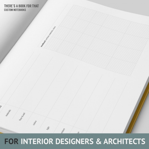 An interiordesign notebook containing light grids to support drawing, space for extensive documentation, dedicated space for material and ambience notes and a moodboard to go crazy with materials, surfaces and colors.