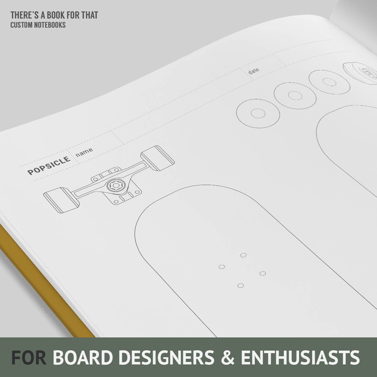The skateboard design notebook Lord of the Boards is containing multiple setup pages to refer your designs to (street, park ,cruiser…). Multiple grids (various classic shapes) to start drawing without caring about shapes, custom guides for freeform shapes, complete technical documentation from deck 2 trucks 2 wheels 2 accessoires. You will love this notebook for board designers and enthusiasts.