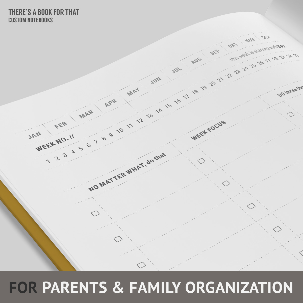 The notebook mother of 3 is helping you to keep track of your family business: todos, school, focus support, calls&e-mails, appointments, meals, fitness&health and whatnot. You will love this notebook for parents and family organization.