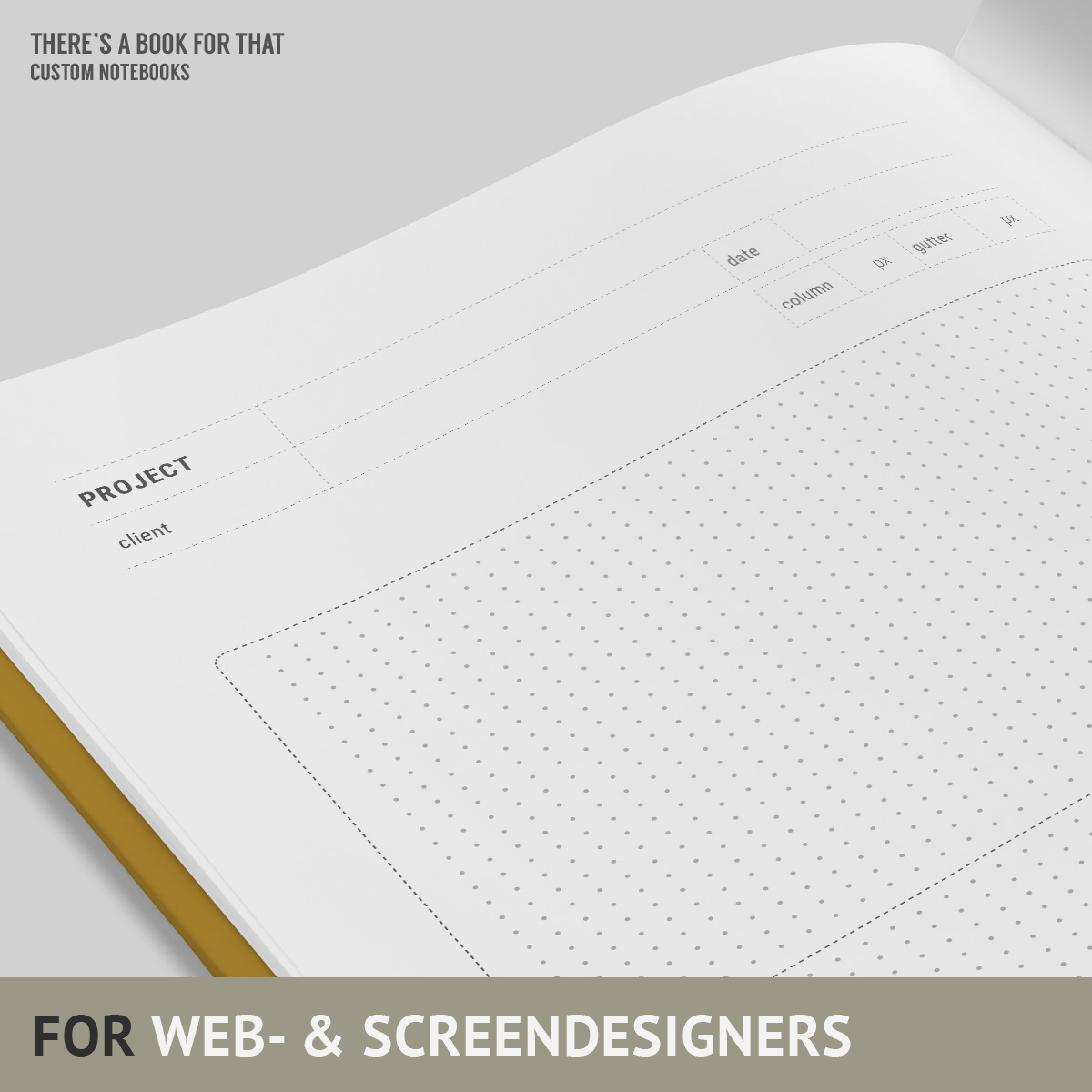 A screendesign notebook with all three major breakpoints on one spread. Extended screens showing typical (above the) fold, space to define usecases and extremely cool thumbnail sketching & flowcharts. You will love this notebokk for web- and screen designers.
