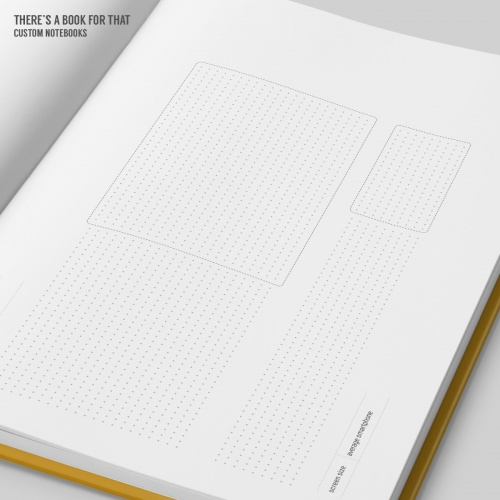 A screendesign notebook with all three major breakpoints on one spread. Extended screens showing typical (above the) fold, space to define usecases and extremely cool thumbnail sketching & flowcharts.