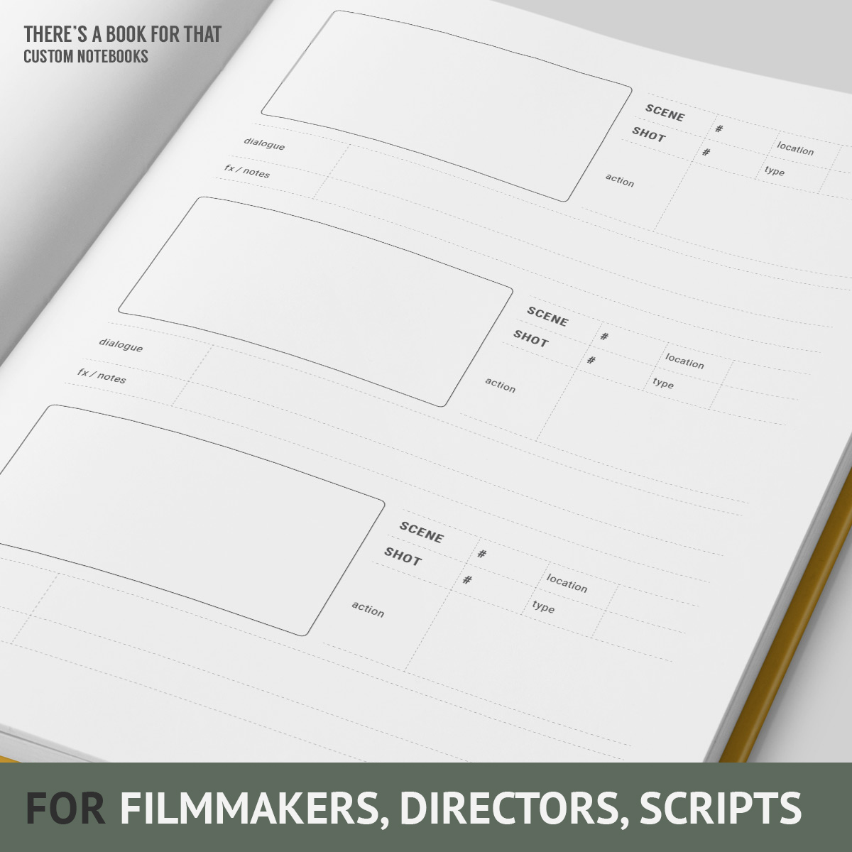 A storyboard notebook containing a storyboard layout with structured info about the project, en detail, sketch areas (thumbnails) including space for scene/shot/action/dialogue and fx notes. You will love this notebook for filmmakers and directors.