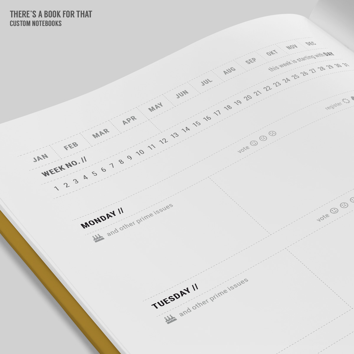 "A weekly rows calendar with sections for important things to be accomplished enough space to hold your daily content neat ideas to register your mood and weather conditions and a cool ""no matter what"" section for each week."