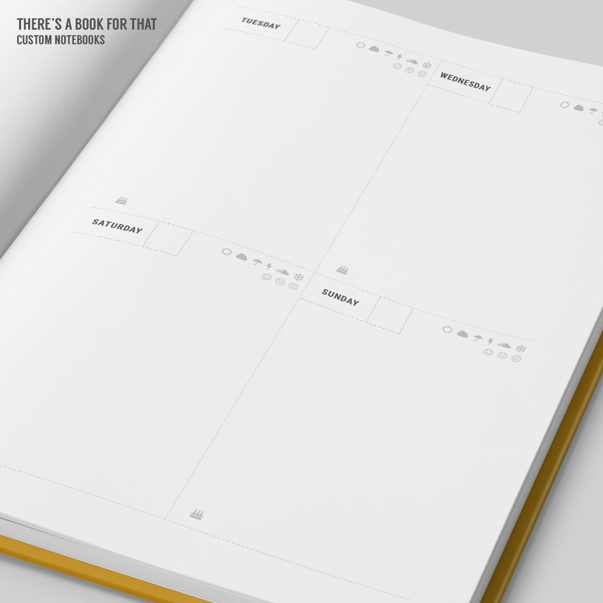 "A weekly calendar in a boxed layout with sections for important things to be accomplished, enough space to hold your daily content, neat ideas to register your mood and weather conditions and a cool ""no matter what"" section for each week."